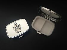 Paw Print A67 English Pewter on Emblem Rectangular Travel Metal Pill Box