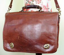 Italian Vintage Quality Tan Brown Leather Satchel Briefcase A4 Shoulder Bag