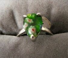 MURANO MILLEFIORI INFUSED GLASS RING IN STAINLESS STEEL SIZE 8