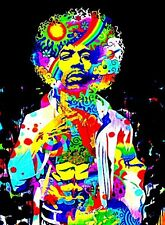 "3.25"" JIMI HENDRIX  Psychedelic Vinyl Bumper STICKER. Guitar, For glass bong."