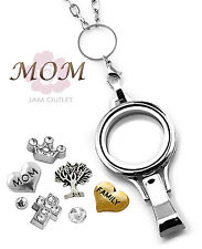 MOM Floating Lanyard Glass Locket Set ID Badge Holder w/ Charms & Rolo Chain