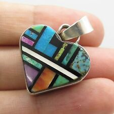 Old Pawn Vtg 925 Sterling Silver Multi Color Gem Two Sided Heart Pendant 5.5g
