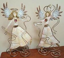 Pair Glittering Dancing Capiz Shell & Metal Angel Sculptures Art Philippines 9""
