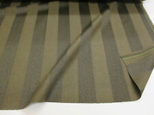 Olive/Brown Striped 100% Wool Curtain Fabric. Produced in Yorkshire England.