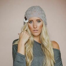 Women Winter Warm Beret Braided Baggy Knit Crochet Beanie Hat Ski Cap Light Gray