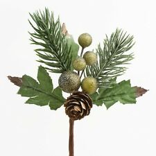 Christmas Flowers Green Berry Spray Holly Pine Cones Cake Decorations Buttonhole