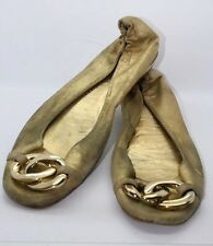 JUICY COUTURE Gold Metallic Soft Leather Flats Gold Chain Accent Sz 8.5 M Italy!