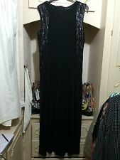 BLACK STRETCH SEQUIN EMBELLISED MAXI DRESS SIZE 22/24 BNWT