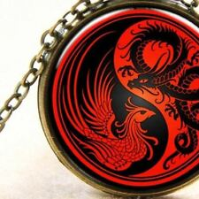 Dragon Yang and Phoenix Yin, Bronze Pendant Necklace Harmony, Balance, Jewellery