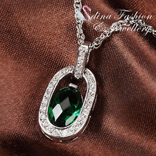 18K White Gold Plated Swarovski Crystals Oval Shaped Teardrop Emerald Necklace