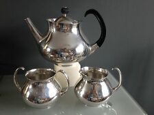 ELKINGTON 1965 ERIC CLEMENTS ICONIC MODERNIST SILVER PLATE 3 PIECE TEA SET
