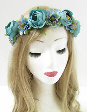 Turquoise Blue Ranunculus Rose Flower Headband Hair Crown Festival Garland 732