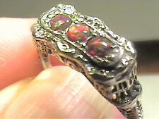 EDWARDIAN Silver 7 RING BLUE OPAL FILIGREE VINTAGE red FIRE TRIO 925 STERLING