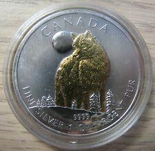 2011 Bullion $5 1oz Wolf .9999 Silver Maple Leaf w/ gold plate Canada SML