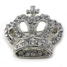 Bridal Princess Cross Crown Tiara Brooch Pin White Clear For Pendant Necklace