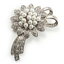 Vintage Bridal Silver & White Pearls Flower Corsage Brooch Pin BR190