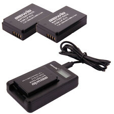 Li-ion Battery for Canon EOS M 100D Rebel SL1 / 2 Pcs LP-E12 + USB Charger