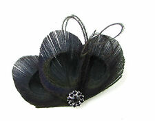 Black Silver Peacock Feather Fascinator Hair Clip Vtg 1920s Trimmed Flapper 679