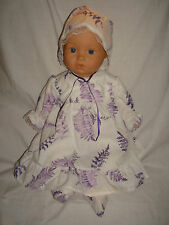 """White Lilac Leaf  Dress, Bonnet & Booties.  Fit  Baby Born/Annabell16/18"""" Doll"""