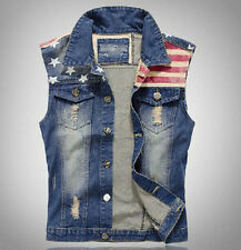 New Blue Mens Collar Denim Fitted Sleeveless Trucker Vest Jean Jacket Coat M-3XL
