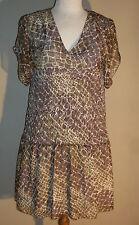 BCBG Collection XL Pucker Waist Peasant Dress Short Flutter Sleeve Brown Tan