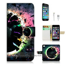 "iPhone 6 Plus (5.5"") Print Flip Wallet Case Music Disk Gramophone Record P0393"