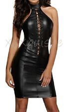 Faux Leather PVC Lace Up Halterneck Sexy Black Dress Size 10 12