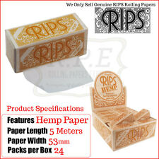 Hemp Rips King Size Cigarette Rolling Papers On A Roll - 1 Full New Box
