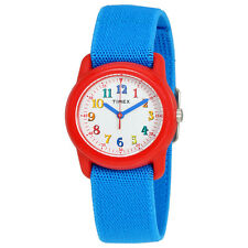 Timex Style White Dial Kids Blue Fabric Watch TW7B99500