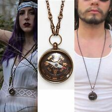 Compass necklace hand oxidized brass pocket watch chain swivels black bronze