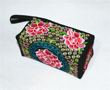woman ethnic handmade Embroidered handbag purse cell phone pocket Wallets Red