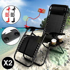 2 Zero Gravity Lounge Beach Chairs Folding Outdoor Recliner Black w/Phone Holder