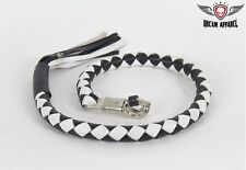 "3"" Fatty Black & White Get Back Whip for Motorcycles - free shipping"