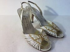 BRUNO MAGLI SILVER PLATIMUN GOLD LEATHER SLINGBACK OPEN TOE HEEL SHOE 6.5N ITALY