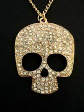 Gothic Sugar CRYSTAL SKULL NECKLACE Pirate Costume Retro Vintage GOLD Pendant