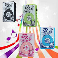 Mini Clip Flower Pattern MP3 Player Music Media Support Micro SD TF Card