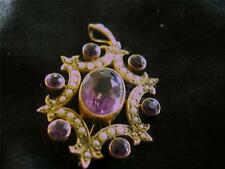Exquisite Edwardian Quality 9ct Gold Amethyst & Pearl Pendant