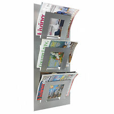 Designer Wall Mounted Magazine Newspaper Rack Metalic Silver By THE METAL HOUSE
