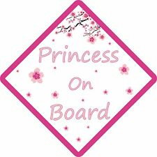 PERSONALISED PRINCESS ON BOARD FLOWER, Car Sign. Baby Child Children Safety