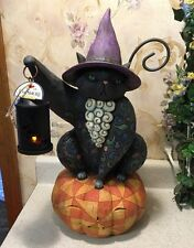 "RARE Retired Jim Shore "" On the Night Watch"" Halloween Black Cat Light 20"" Witch"