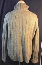 Abercrombie & Fitch Wool Blend V-Neck Sweater Pullover Arm Patch Khaki Green LRG