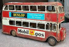 VINTAGE ATD TM 2 DECKER BUS FRICTION TOY-DUNLOP,ESSO,GOODYEAR,MOBIL GAS AD,JAPAN