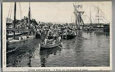 NAPOLI Torre Annunziata Il porto con scaricamento di grano PC Circa 1905