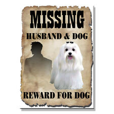 MALTESE Husband Missing Reward FRIDGE MAGNET New DOG Funny