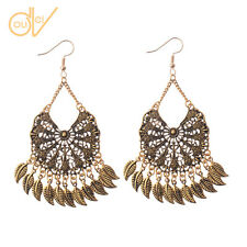 New Women's Retro Bohemian Boho Style Round Gold Long Leaf Dangle Earrings