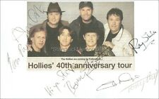 The Hollies *Tony Hicks, Bobby Elliott +3* Hand Signed Autographed 8x5 Card