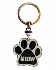 MEOW Key Chain Paw Print CATS Silver Tone Pets Animals Kittens New