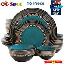 Gibson 16-piece Set Kitchen Dining Plates and Bowls Stoneware Dishes Round Blue
