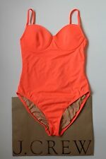 NWT J Crew Neon Underwire One Piece Swimsuit 10 Medium Neon Papaya $98 B8864