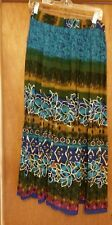 Chaudry KC Women's Peasant Fully Lined Blue Floral Print Long Skirt, Size large